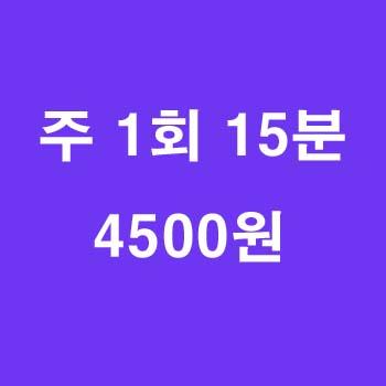 15분 수업/주 1회 4500원