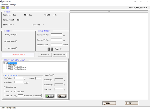 User Interface of Test system H1000
