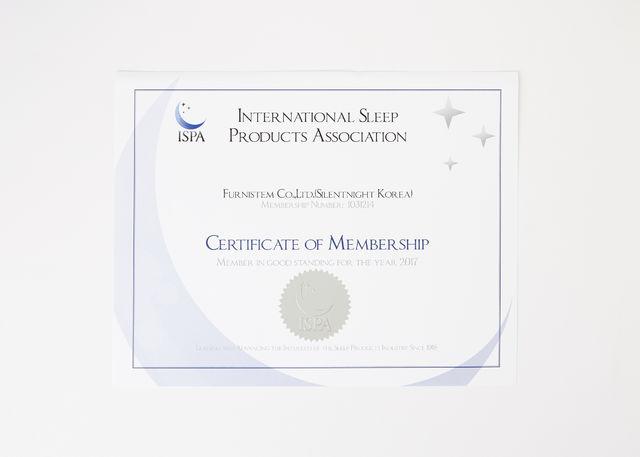 ISPA(국제수면제품협회) 멤버 인증서