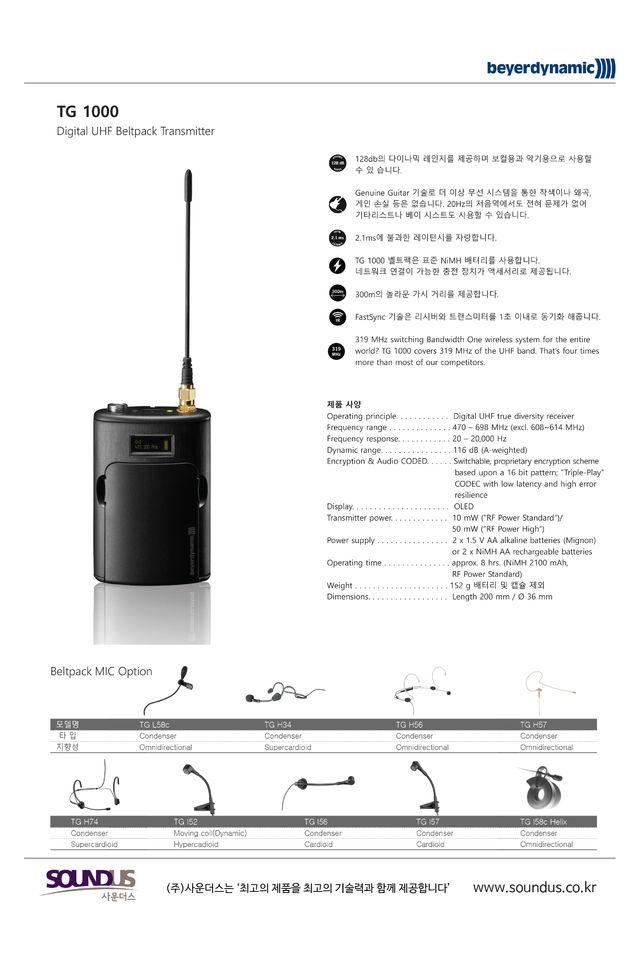TG 1000 Beltpack Transmitter