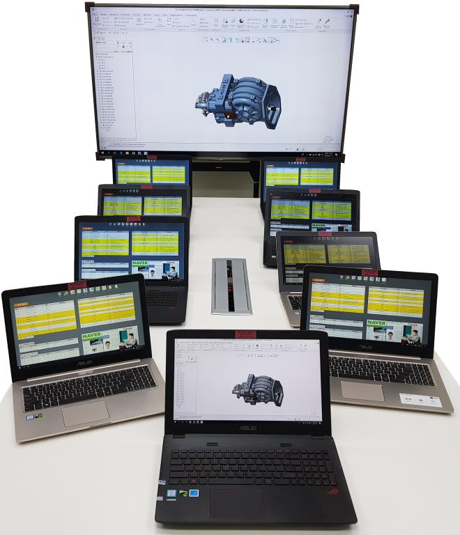 교육장 장비: 65인치 TV, Full HD Beam Projector + Laptop  10대(CPU i7-7700, RAM: 16GB, SSD 256GB+1TB HDD, nVidia Geforce)
