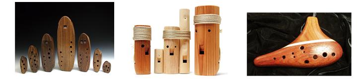 미국의 Charlie Hind씨가 만든 나무오카리나와 헝가리의 민속악기가 원형인 일본의 코카리나, 한국의 고현일님이 만든 나무소리오카리나
