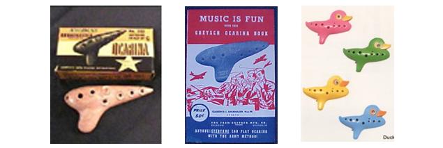 2차 세계대전 당시 군인들에게 지급된 플라스틱오카리나와 교본, 그리고 장난감 오카리나
