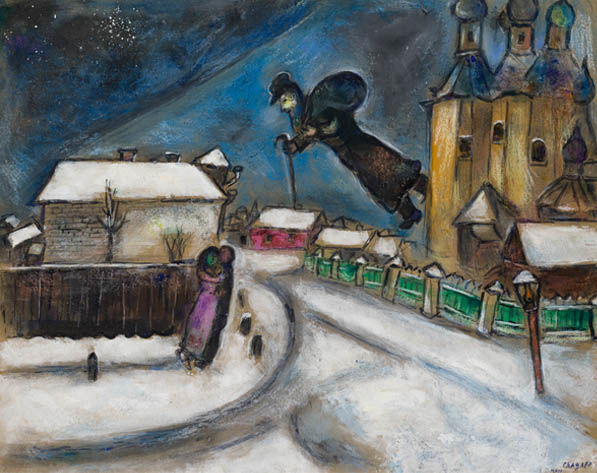 Marc Chagall, Over Vitebsk, Undated, Gouache, watercolor, graphite and crayon on cardboard, The Israel Museum, Jerusalem by Avshalom Avital © ADAGP, Paris - SACK, Seoul, 2018, Chagall ®