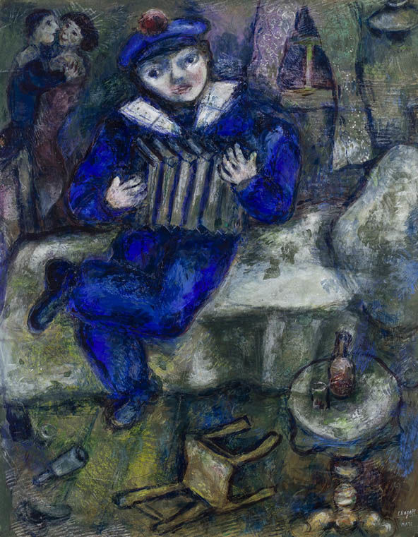 Marc Chagall, Accordion, 1926, Gouache and crayon on paper, The Israel Museum, Jerusalem by Avshalom Avital © ADAGP, Paris - SACK, Seoul, 2018, Chagall ®