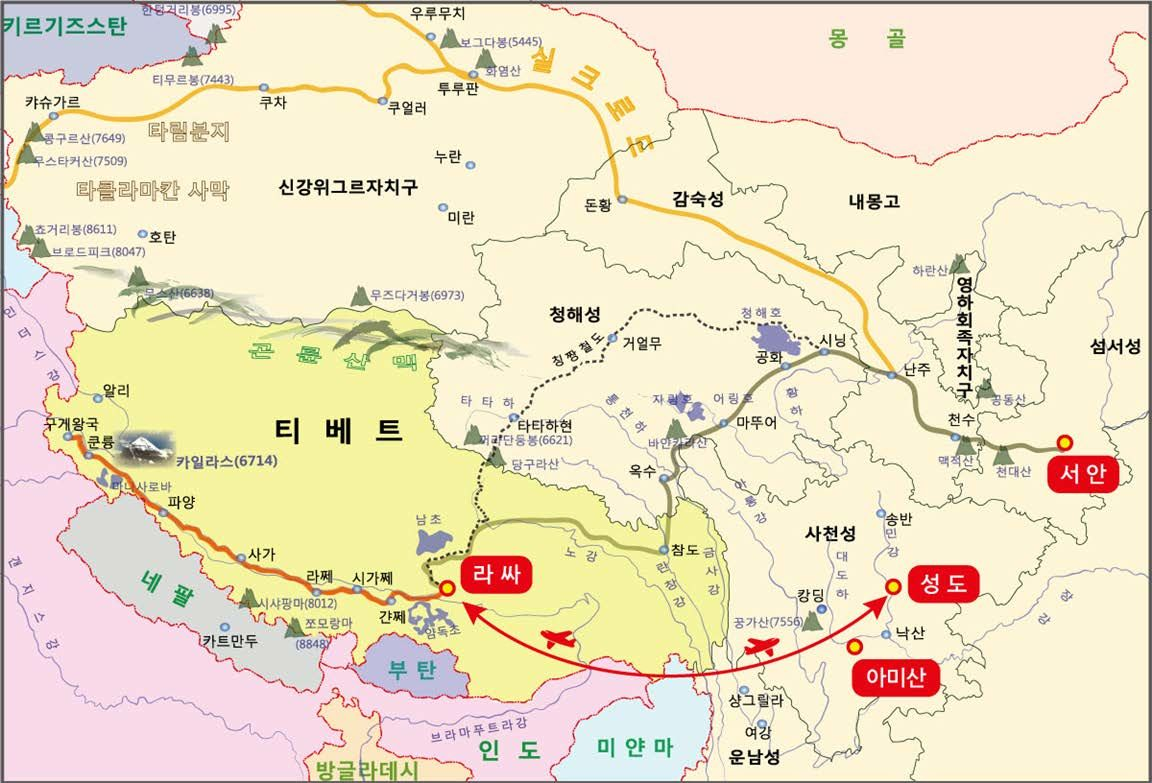 티베트, 수미산 지도
