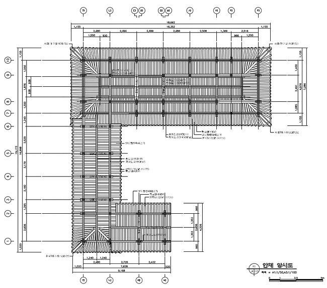 [그림3-07] 안채 천정 구조 평면도