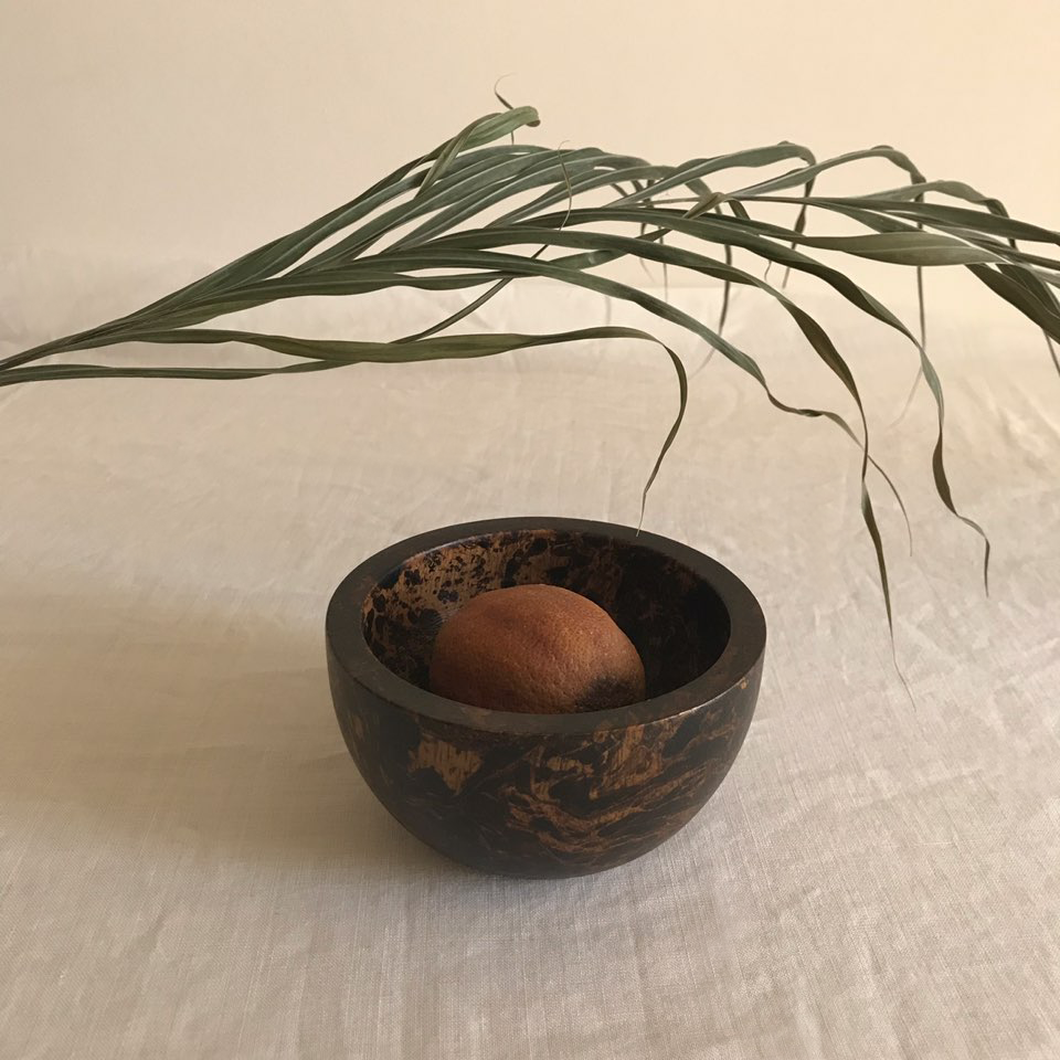 OBJECTS / PRESERVED COCONUT LEAVE & WOOD BALL
