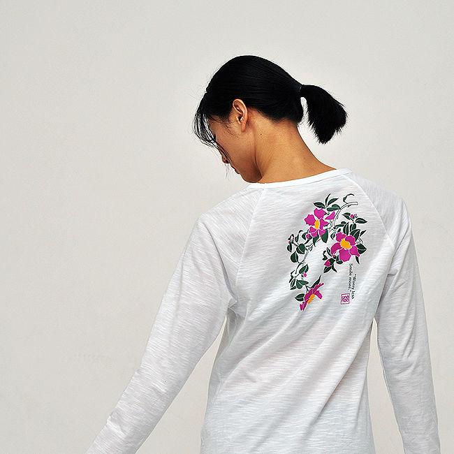 7dd18095d68 장미 프린트 라글란 롱 슬리브 티셔츠