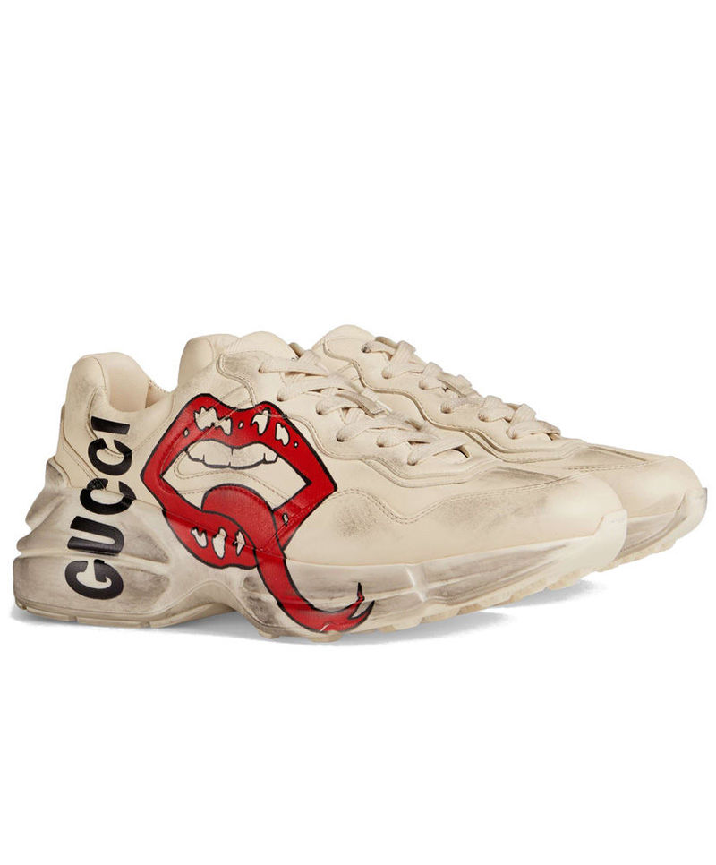 1a0222fce94 Gucci Unisex Rhyton sneaker with mouth print 552093 Cream
