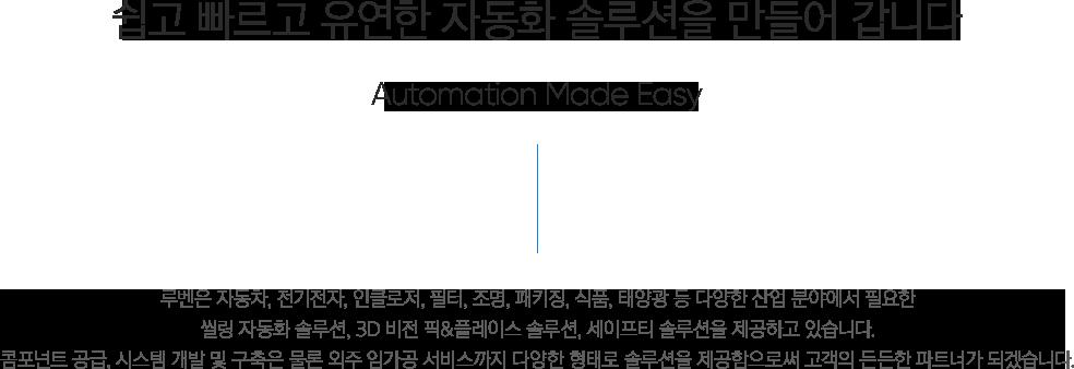 루벤   기업소개   쉽고 빠르고 유연한 자동화 솔루션을 만들어 갑니다 - Automation made easy, 루벤은 자동차,전기전자,인클로저,필터,조명,패키징,식품,태양광 등 다양한 산업 분야에서 필요한 씰링 자동화 솔루션, 3D 비전 픽&플레이스 솔루션, 세이프티 솔루션을 제공하고 있습니다. 컴포넌트 공급, 시스템 개발 및 구축은 물론 외주 임가공 서비스까지 다양한 형태로 솔루션을 제공함으로써 고객의 든든한 파트너가 되겠습니다.