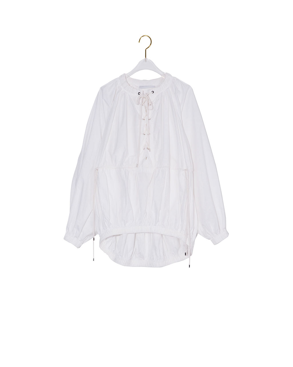 4fcddc2ec6569b MURIEL Long Sleeve Tunic Blouse with Waist String White : eenk