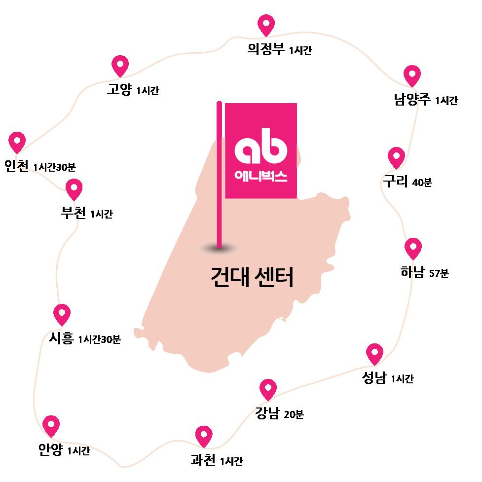 애니벅스 만화애니전문학원 세종대 건대앞 본원 지도