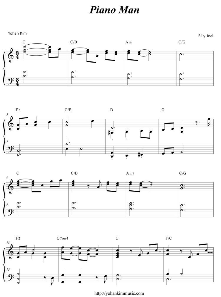 Piano Man (Sheet Music) : Yohan Kim Music