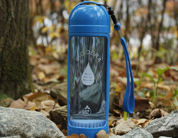 Biocera alkaline water bottle in forest