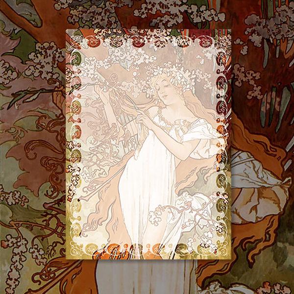 알폰스 무하 사계 : 봄 명화 떡메모지