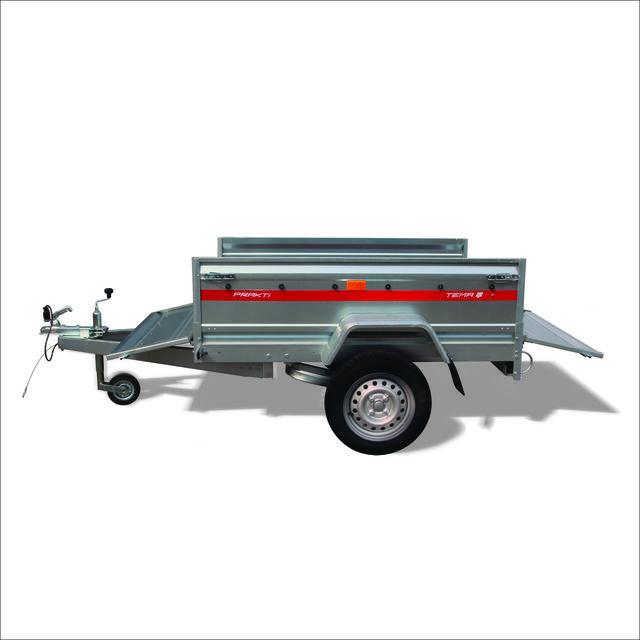 PRAKTI - 460mm 높이의 강철 측면의 개방이 가능한 무제동 트레일러 시리즈.
