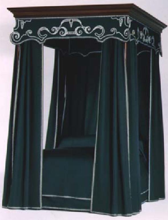 침대 커튼 및 직물을 특징으로하는 18 세기 미국 호두 식민지시대 침대. (이미지 제공 : 성 루이스 박물관)
