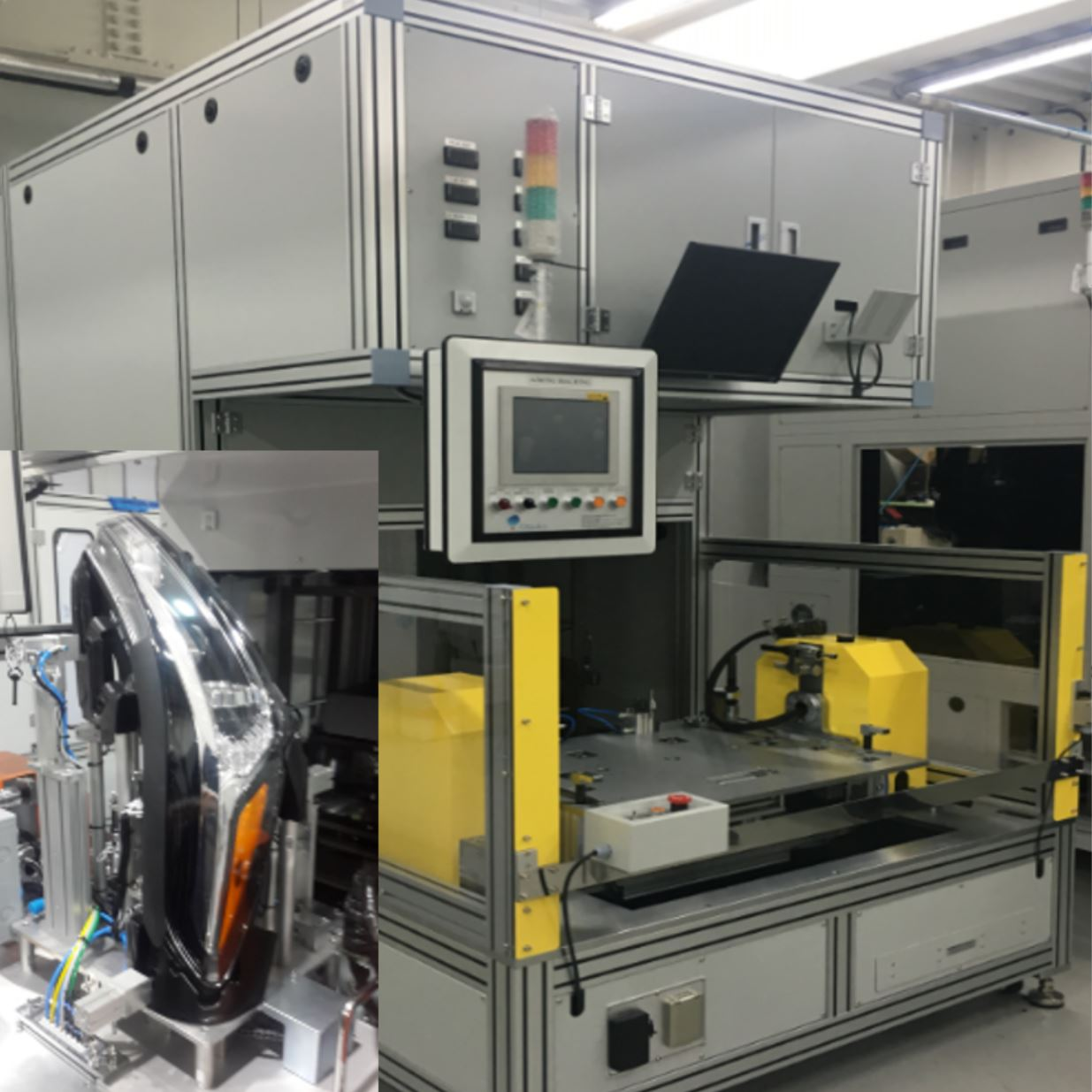 Headlamp aiming photometric tester for full assembly line with a headlamp sample