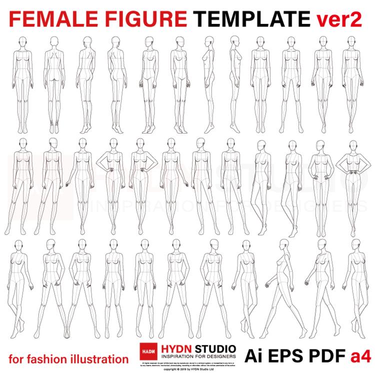 Female Figure Template For Fashion Illustration Ver2 9 Head 47 Poses Fashion Flats Fashion Illustration Fashion Template Fitness Fashion Health Tips