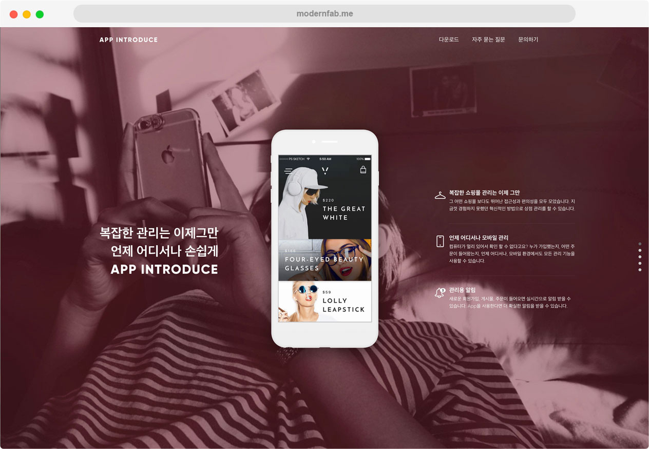 앱 소개 홈페이지 (코드사용)