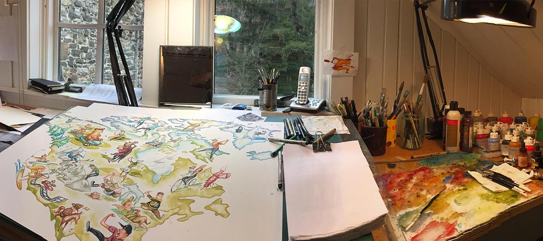 세계지도 브랜드 어썸맵스 지도 제작 스케치 과정