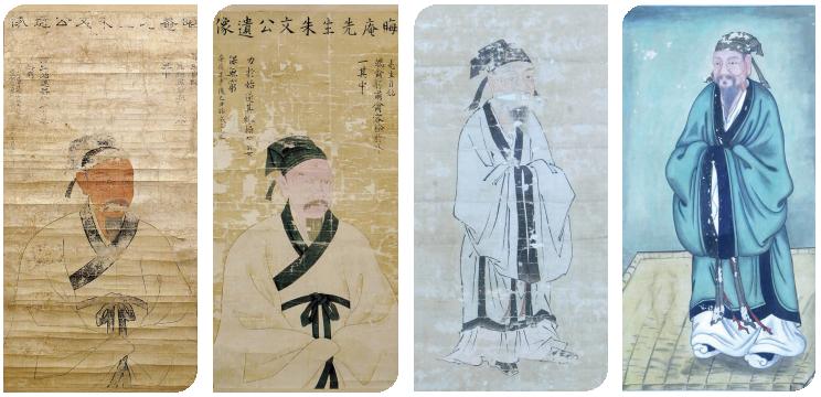 왼쪽부터 1712년 추정 주자영정, 1845년 주자영정, 19C 추정 주자영정, 1925년 주자영정
