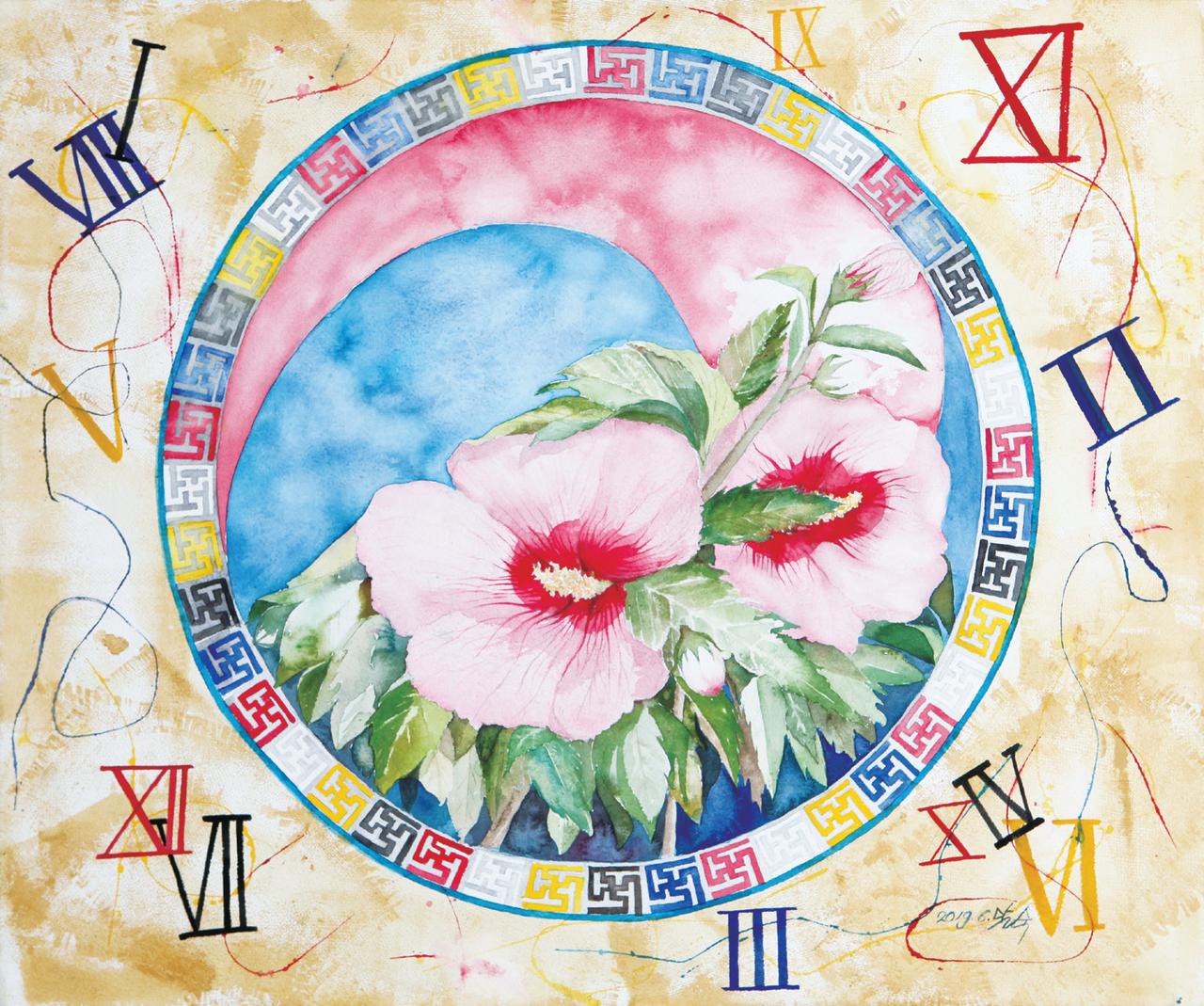 이달숙 (서양화)-무궁화로 장식된 둘러쌓인 문양