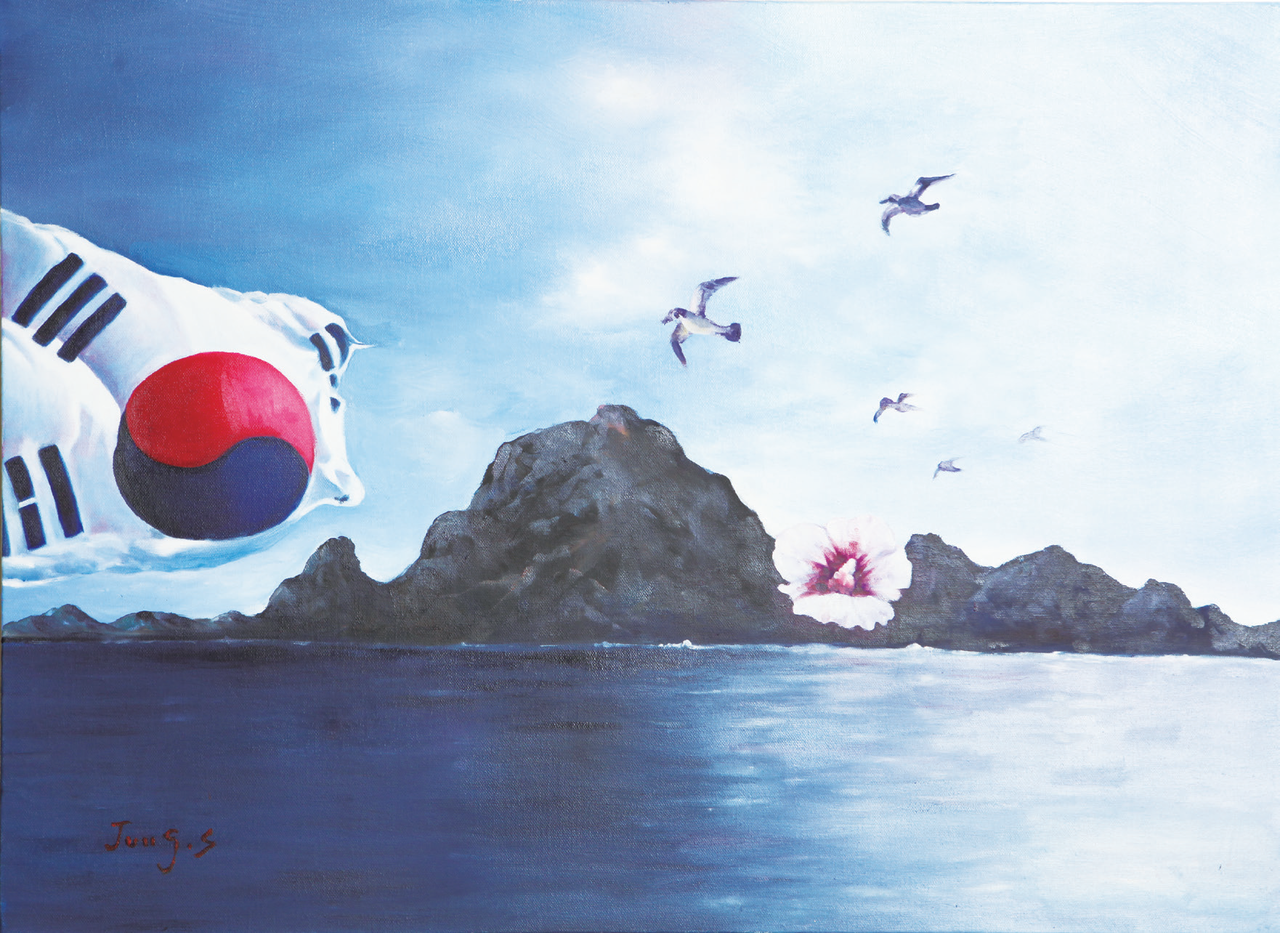 백정숙 (서양화)-태극기 무궁화독도 그리고 굉이갈매기