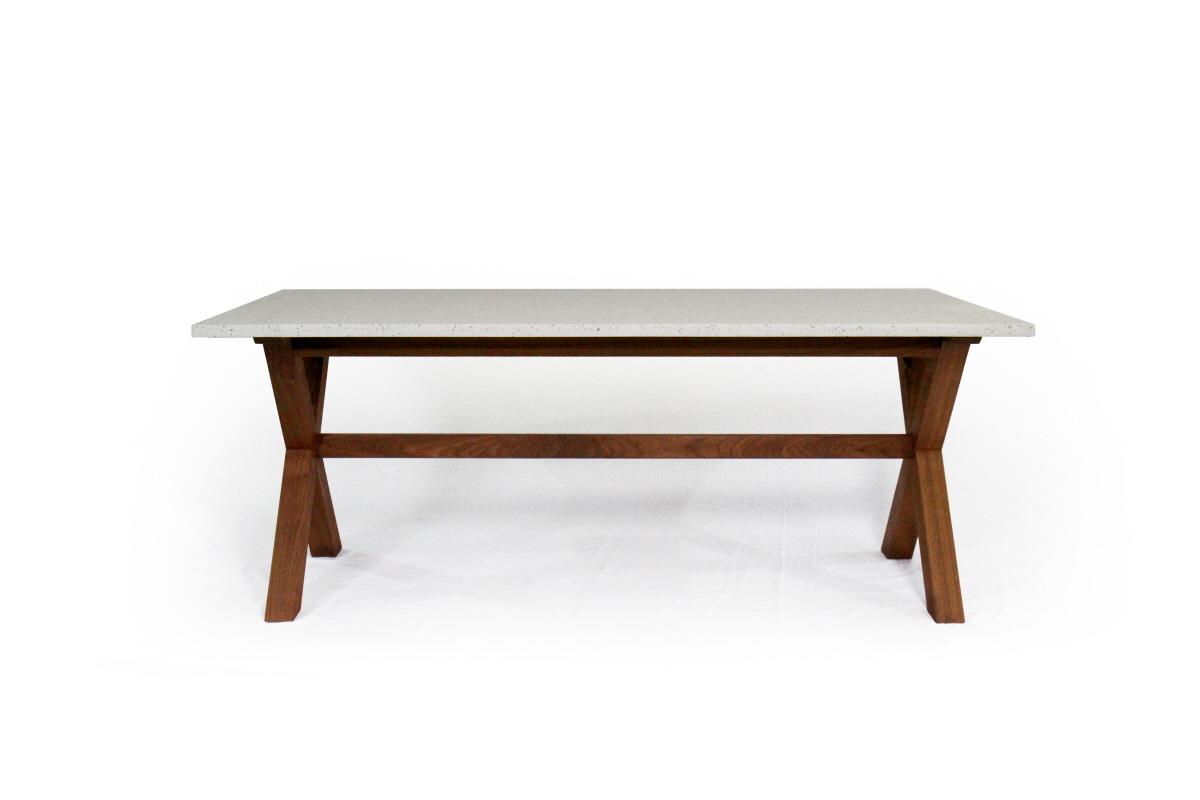 테라조 원목 X-leg table
