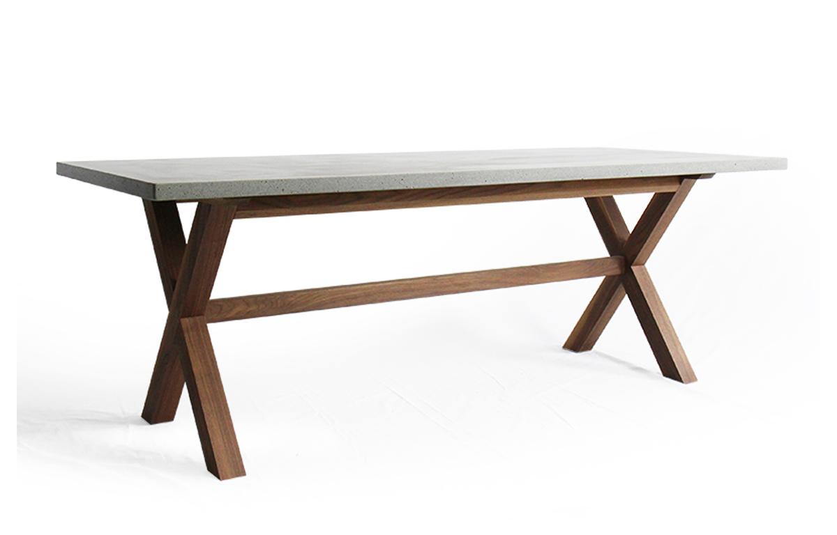 콘크리트 원목 X-leg table