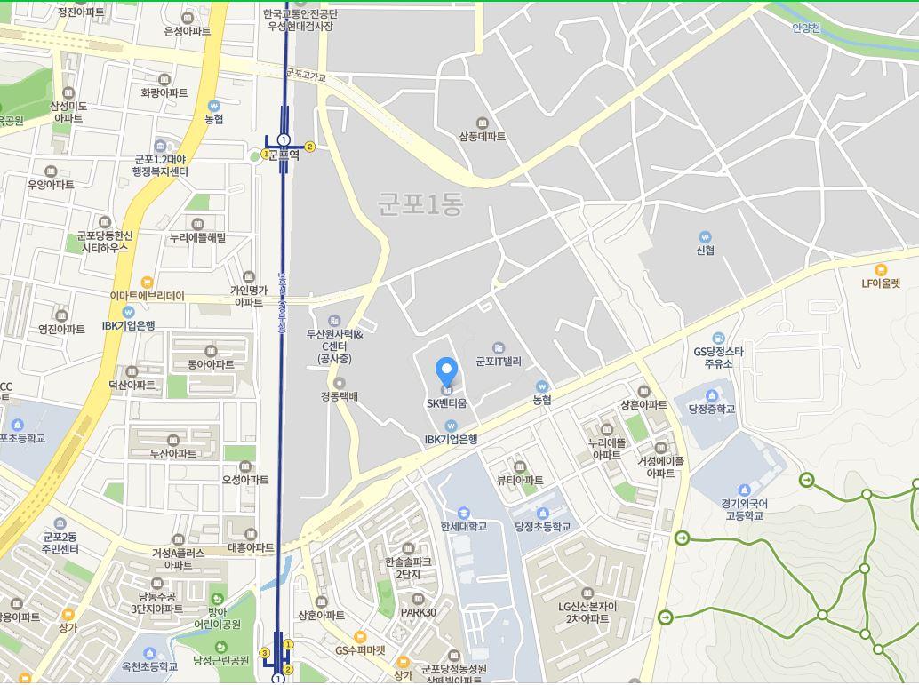 경기도 군포시 고산로 166 SK 벤티움