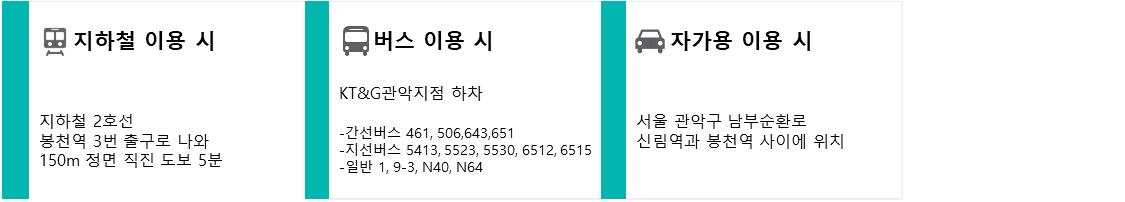1.지하철 이용 시 : 지하철 2호선 봉천역 3번 출구로 나와 150m 정면 직진 도보 5분, 2.버스 이용 시 : KT&G관악지점 하차. (1)간선버스 461, 506,643,651 (2)지선버스 5413, 5523, 5530, 6512, 6515 (3)일반 1, 9-3, N40, N64, 3.자가용 이용 시 : 서울 관악구 남부순환로 신림역과 봉천역 사이에 위치