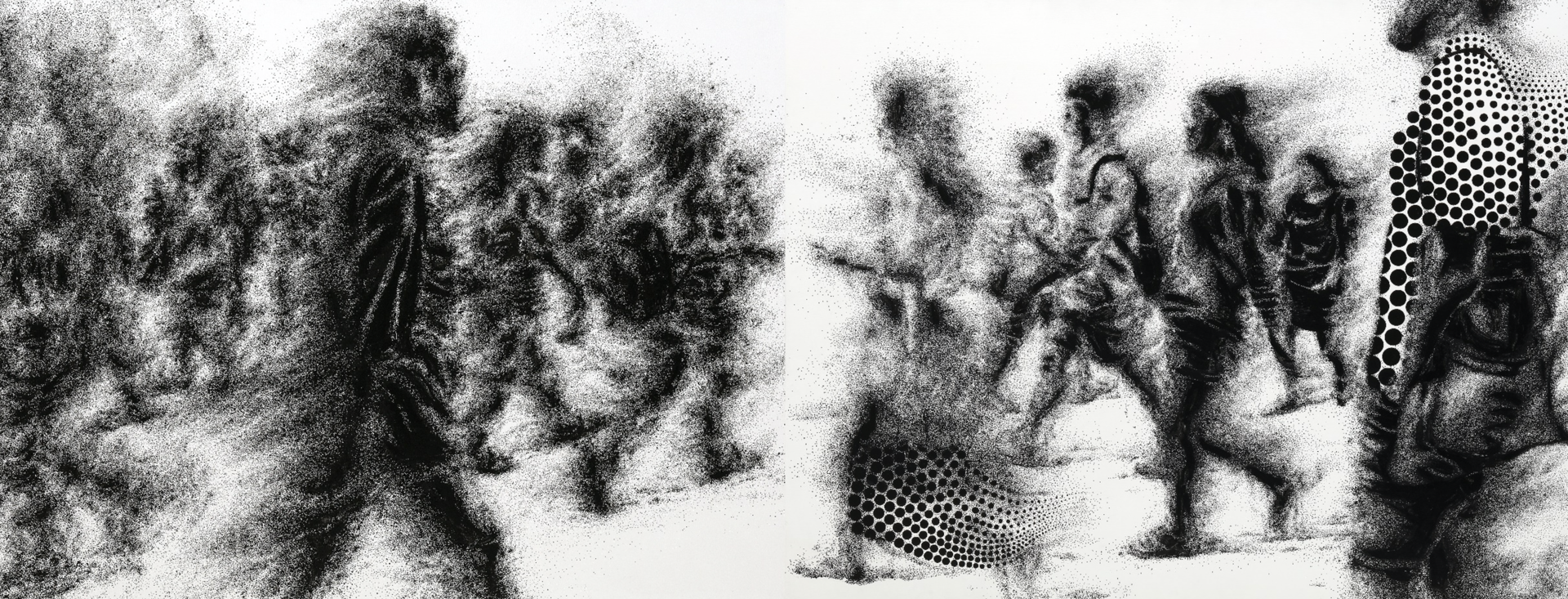 재가  되는 사람들 Acrylic on canvas 112.1X145.5cm 2020 / 재가되는 사람들 Acrylic on canvas 112.1X145.5cm 2018