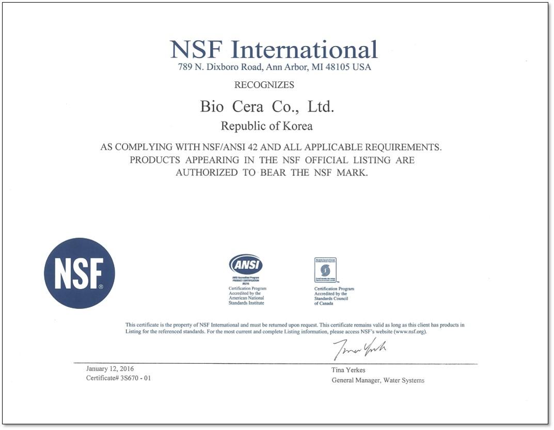 Biocera ceramic balls NSF certification