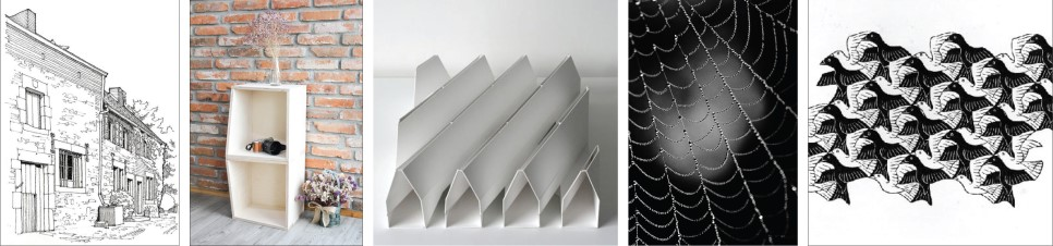 건축스케치, 가구만들기, 종이접기, 자연속의 구조,  MC 에셔의 드로잉