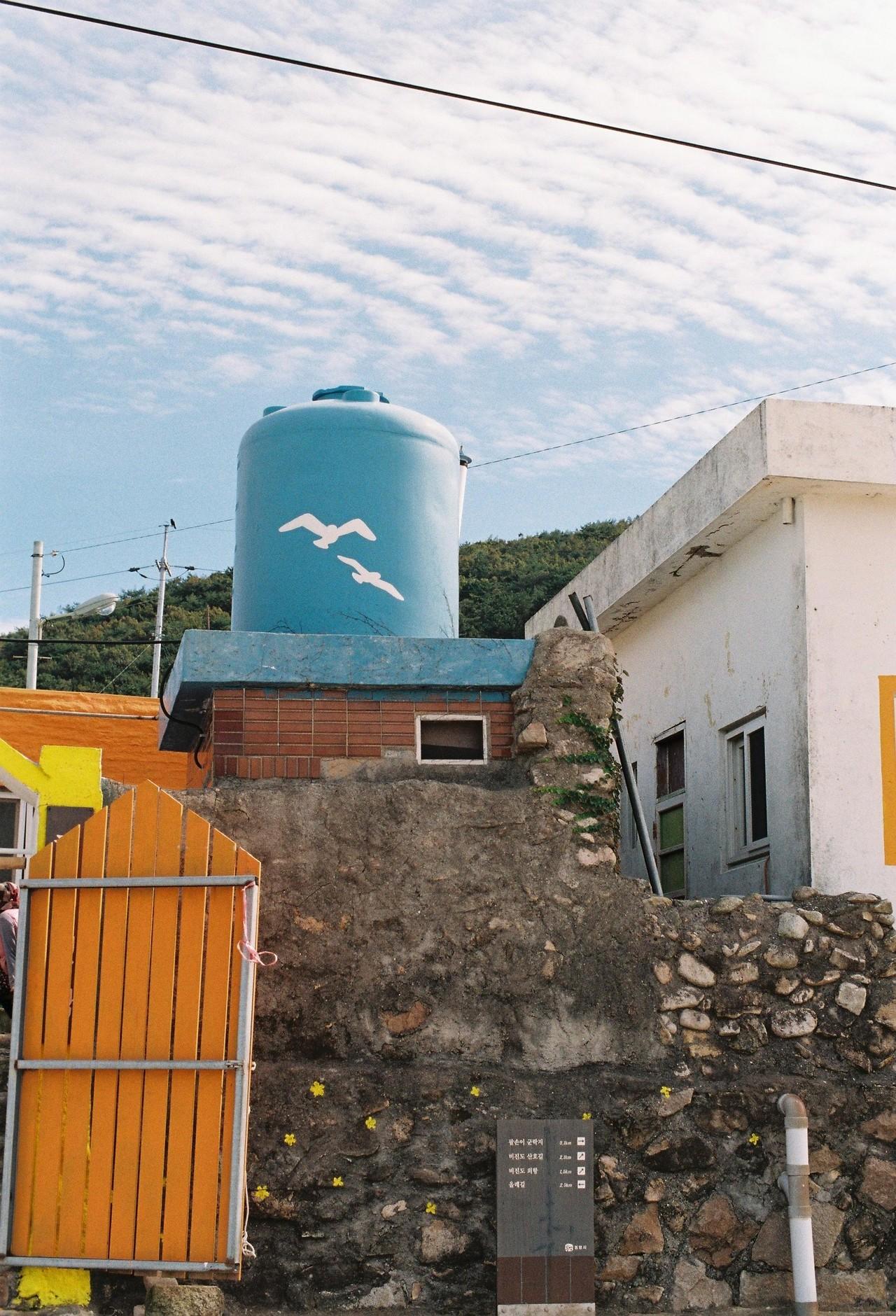 #7. 다시 내리막을 걷다보면 등대와 벽화로 꾸며진 작은 마을이 나온다. 비진도의 주민들이 살고 있는 내항 마을이다. 낯선 사람에게 거리를 짖어대면서도 내심 반가운 듯 꼬리를 흔드는 두 마리의 강아지들.