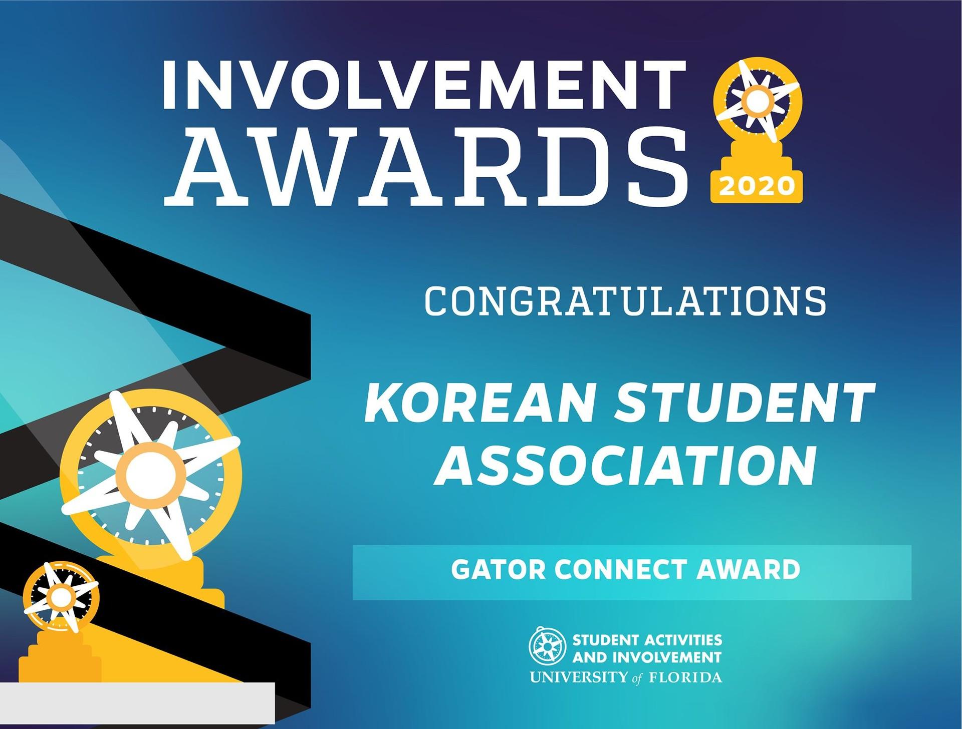 2020년 UF Student Involvement - Gator Connect 부문 수상