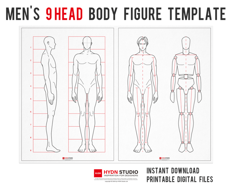 Men S 9head Body Figure Templates For Fashion Illustration Fashion Flats Fashion Illustration Fashion Template Hydnstudio Fashion Design