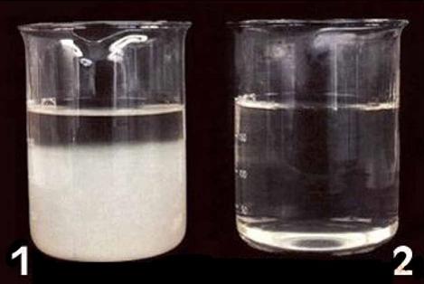 """<p style=""""padding-top:10px"""">[ 80℃ 용해 후 일반 한천(왼쪽, 1)과 인스턴트 한천(오른쪽, 2)의 비교 ]</p>"""