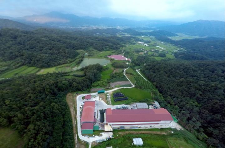 해발 700미터 기양산 자락 청정지역에 자리잡은   명진농장