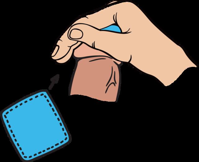 1. 동봉된 알코올 탈지면으로 먼저 성기를 깨끗이 닦아주세요.