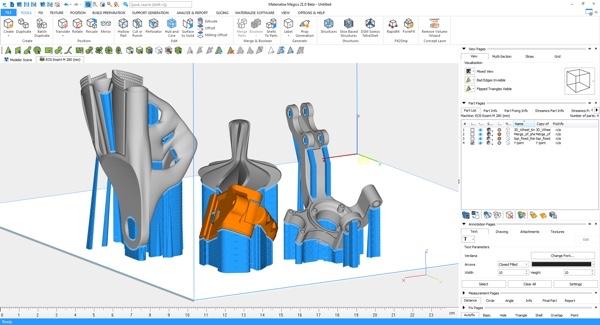 SLA 3D프린터의 빌드 배치 예시