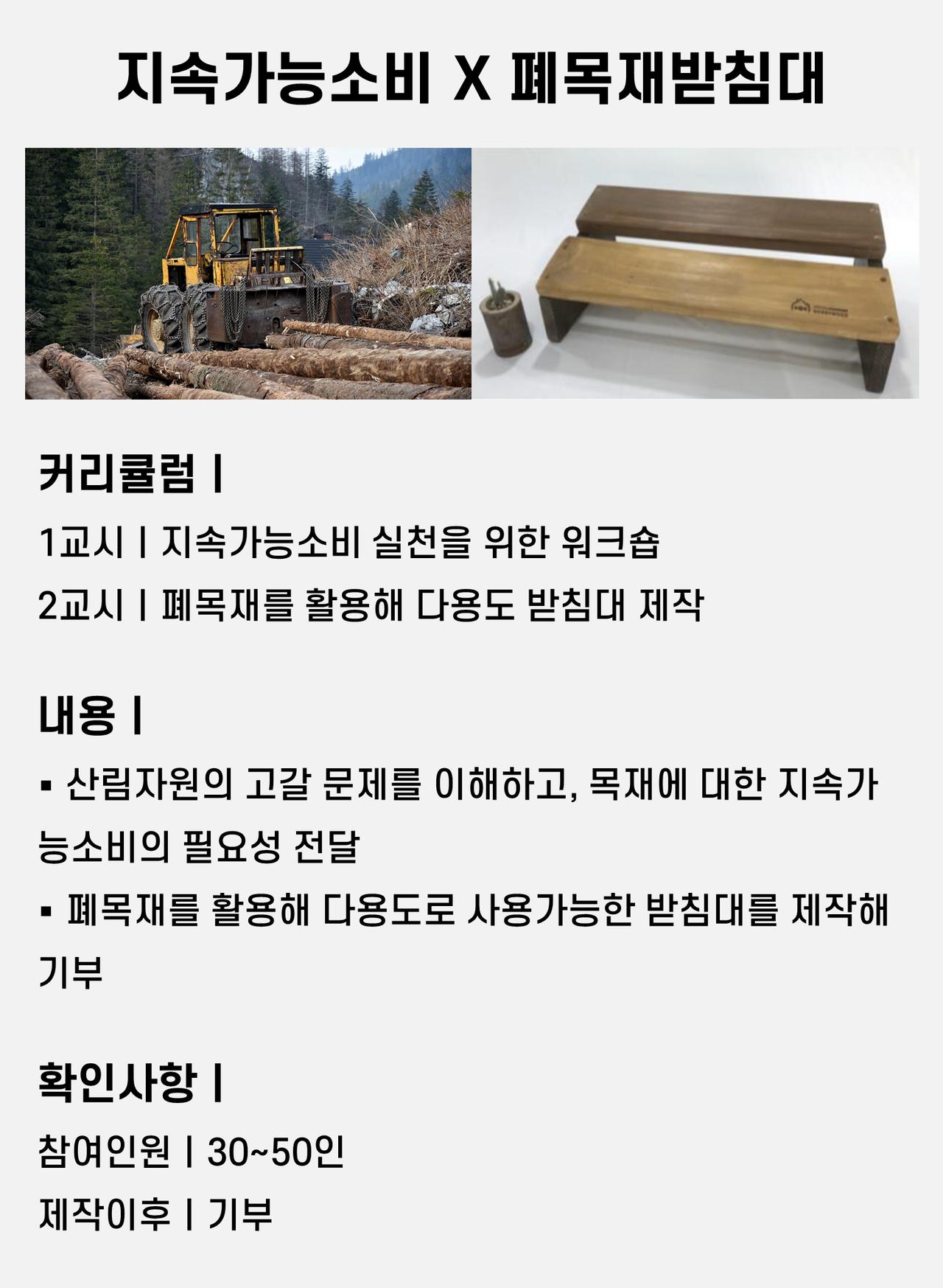 자원순환 산림 환경 지속가능소비 폐목재 업사이클링 업사이클