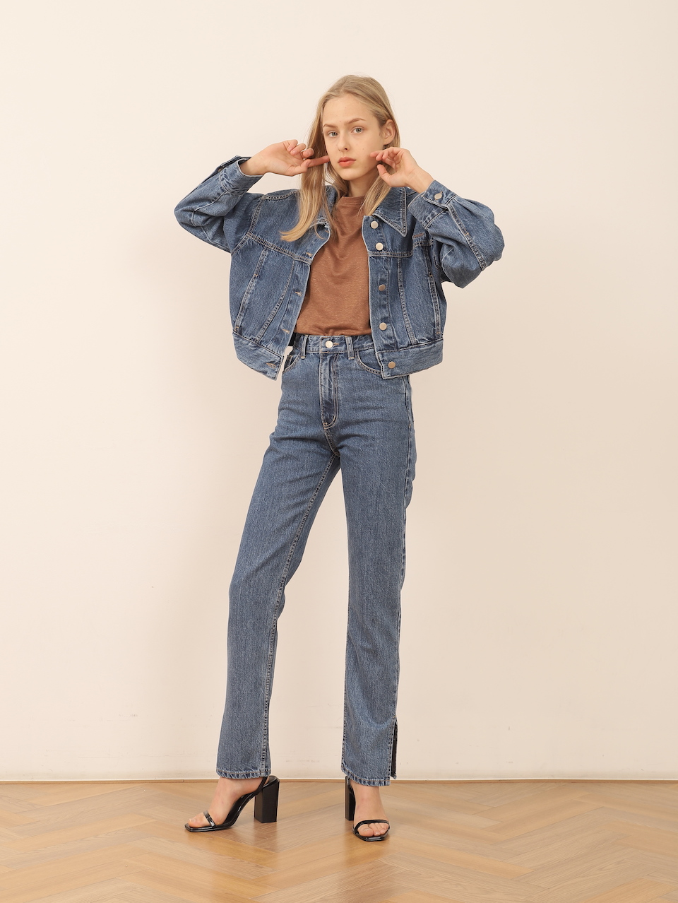 Organic denim trousers and jacket