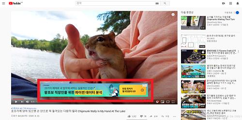 유튜브배너광고 노출예시 PC