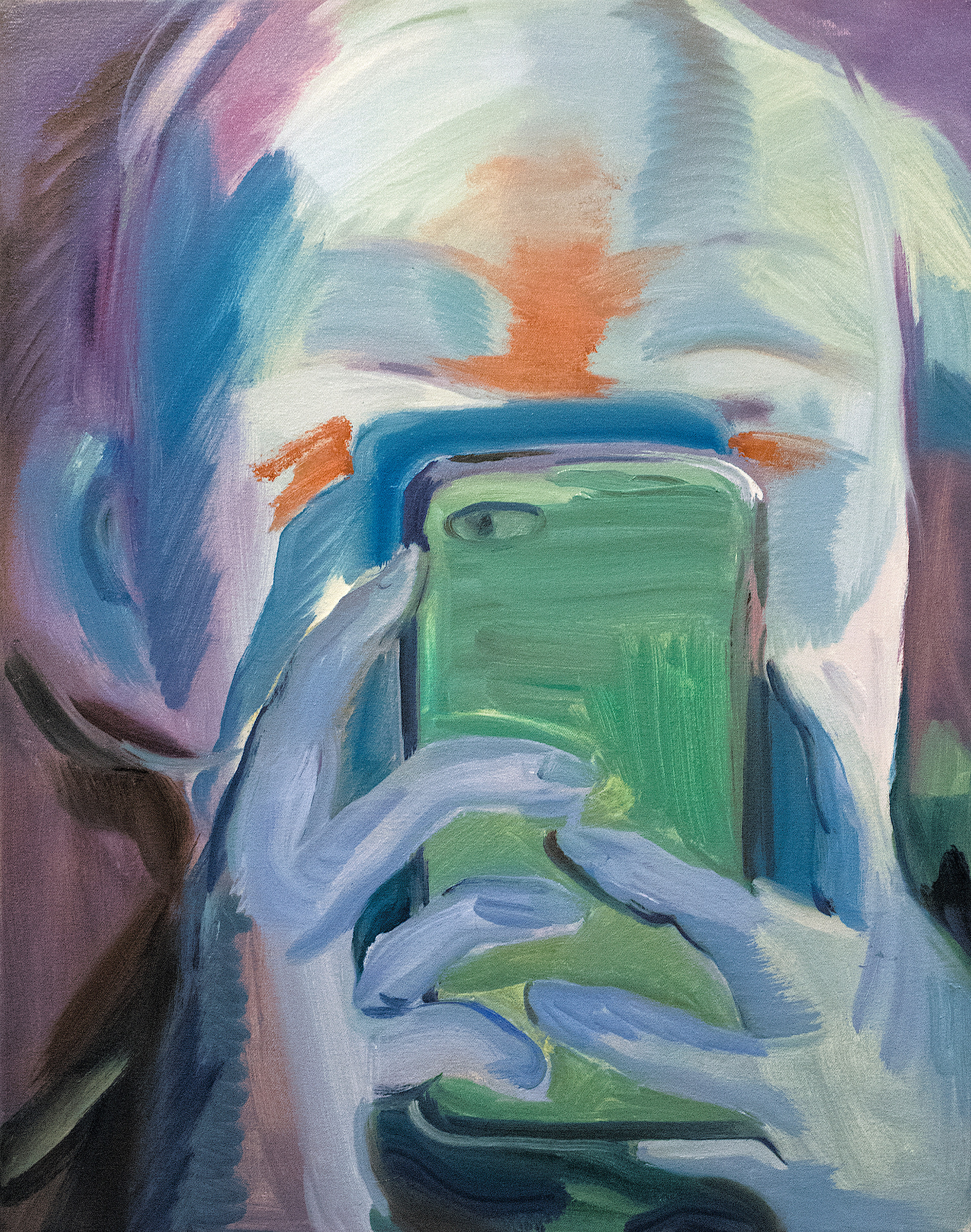 """""""person with a phone1"""" / 26"""" x 22"""" / Oil on canvas"""