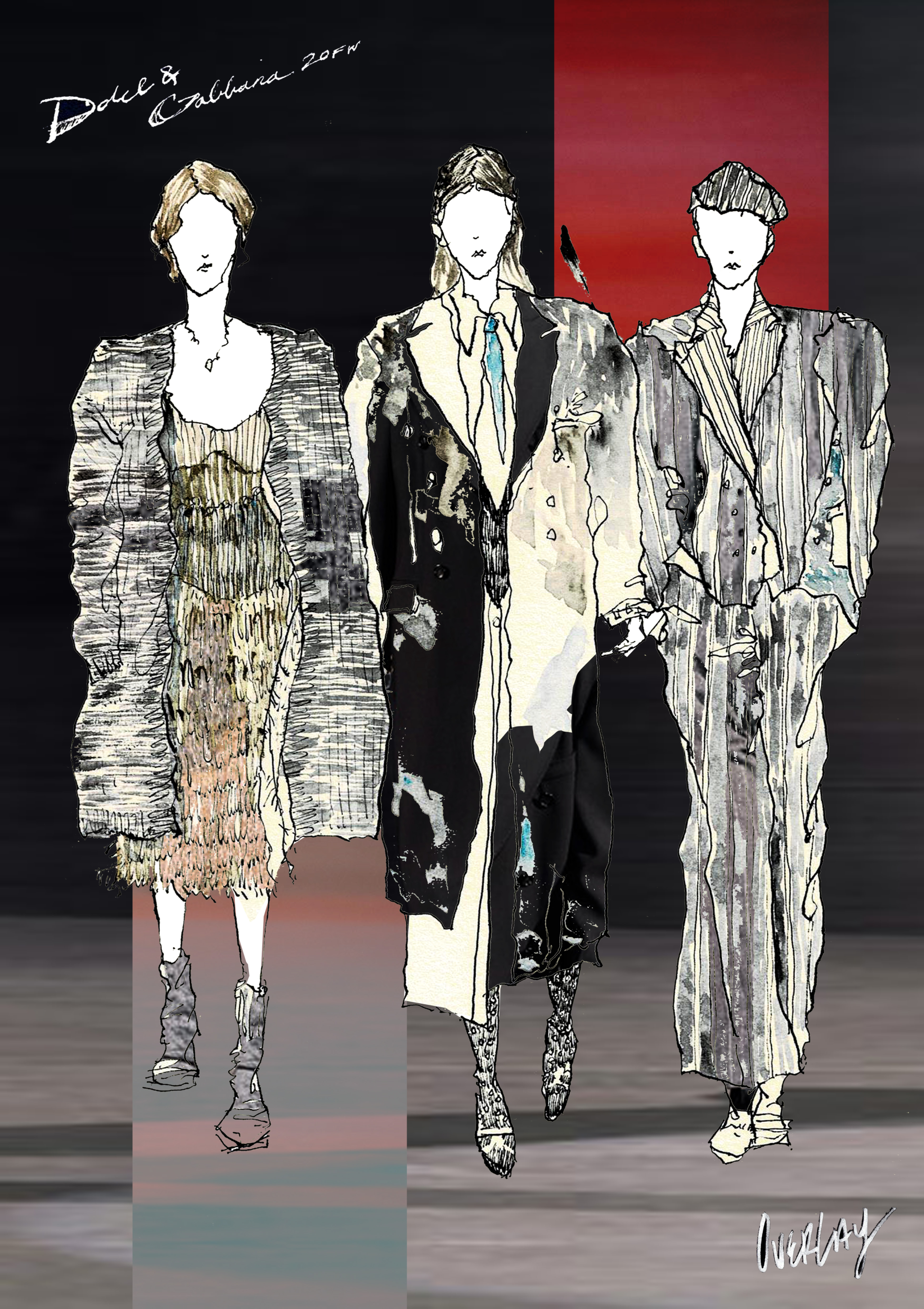 """""""UNTITLED"""" / 594mm x 841mm / ink . watercolor. digital collage / 2020 runway collection revisited"""