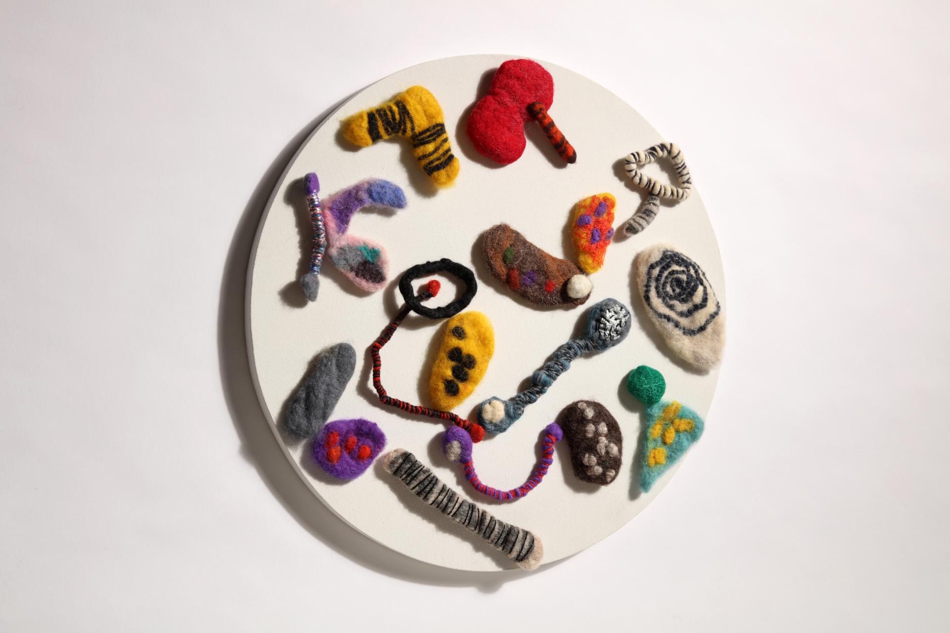 """""""산으로부터 오는 노래 """" / 지름 50cm 원 / 양모(wool),실(threads, yarn) / Hand-made Felt / 2016"""