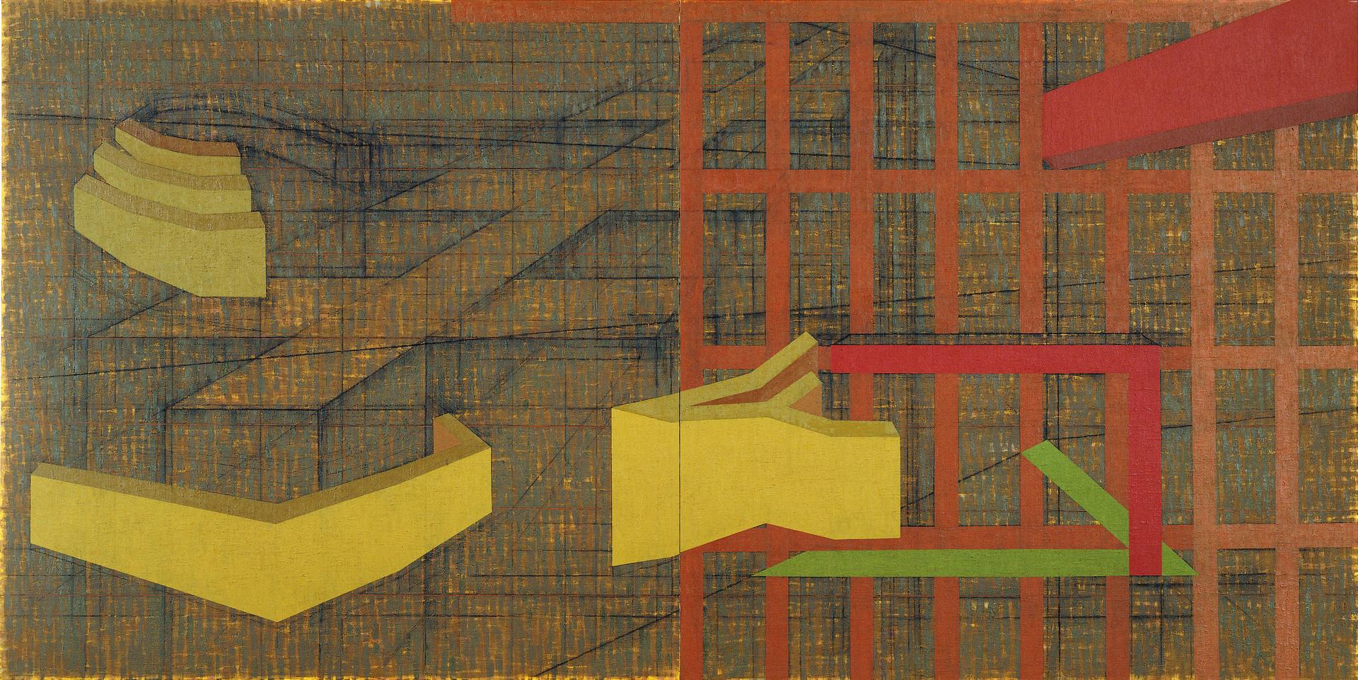 """""""풍경 9816"""" / 1998 / 300x150cm, Oil & Charcoal on Canvas"""